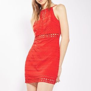 TOPSHOP RED CROCHET BODYCON LACE DRESS